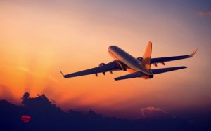 Plane flying in the sunset. Aviation rules, passport, domestic